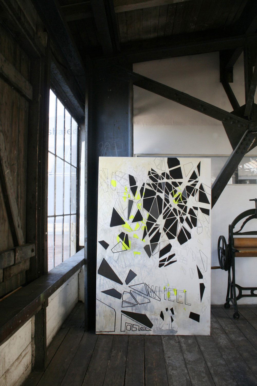 Painting in a loft Digital Collage, Photography, digital collage on the wall, digital printing, Framed digital collage Home Nursing photography, art photography, art photography, fragmentation, dynamics, structures and history. facebook, google,