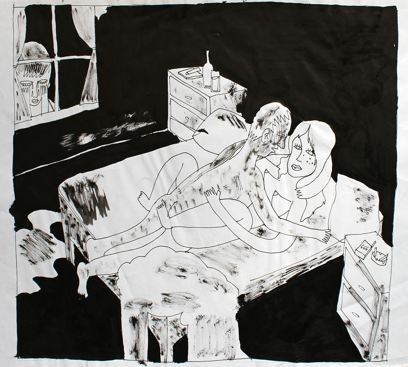 sex mand woman boy looking bed black white strong and expressive art illustrations and drawings, talented Danish illustrator, cartoonist, faverige