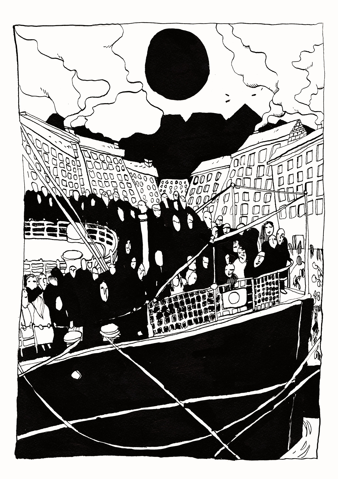 art-prints, giclee, figurative, illustrative, cartoons, oceans, sailing, transportation, black, white, ink, paper, black-and-white, boats, decorative, design, interior, modern, modern-art, posters, prints, sea, travel, Buy original high quality art. Paintings, drawings, limited edition prints & posters by talented artists.