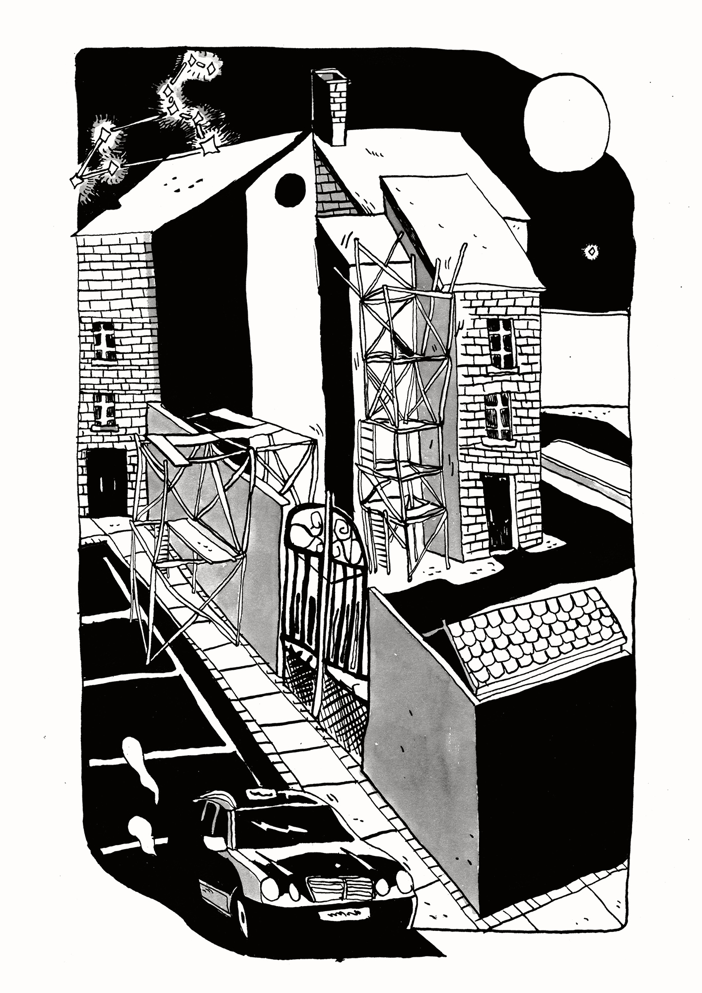 posters-prints, giclee-print, graphical, illustrative, monochrome, architecture, cartoons, movement, transportation, black, white, ink, paper, black-and-white, cars, contemporary-art, copenhagen, danish, design, modern, modern-art, nordic, posters, prints, scandinavien, time, vehicles, Buy original high quality art. Paintings, drawings, limited edition prints & posters by talented artists.