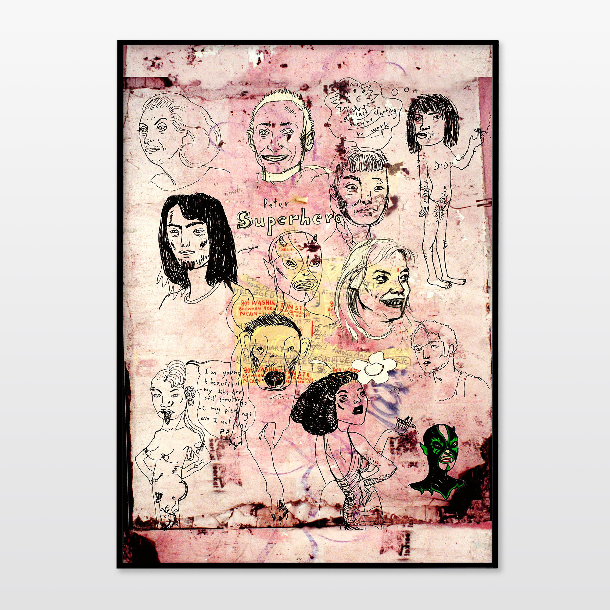 posters-prints, giclee-print, figurative, portraiture, bodies, humor, pets, black, pink, ink, paper, amusing, contemporary-art, danish, decorative, design, dogs, faces, interior, interior-design, men, modern, modern-art, nordic, scandinavien, Buy original high quality art. Paintings, drawings, limited edition prints & posters by talented artists.
