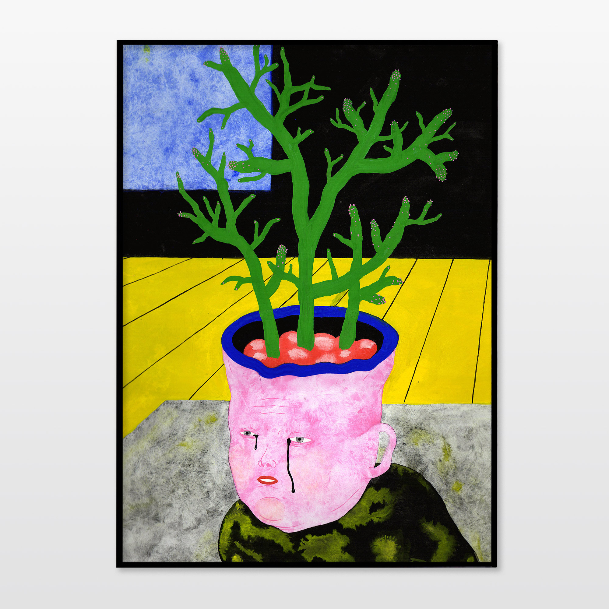 posters-prints, giclee-print, colorful, figurative, portraiture, surrealistic, botany, cartoons, humor, people, blue, grey, pink, yellow, ink, paper, amusing, contemporary-art, copenhagen, danish, decorative, design, faces, feminist, flowers, interior, interior-design, modern, modern-art, nordic, plants, posters, prints, scandinavien, Buy original high quality art. Paintings, drawings, limited edition prints & posters by talented artists.