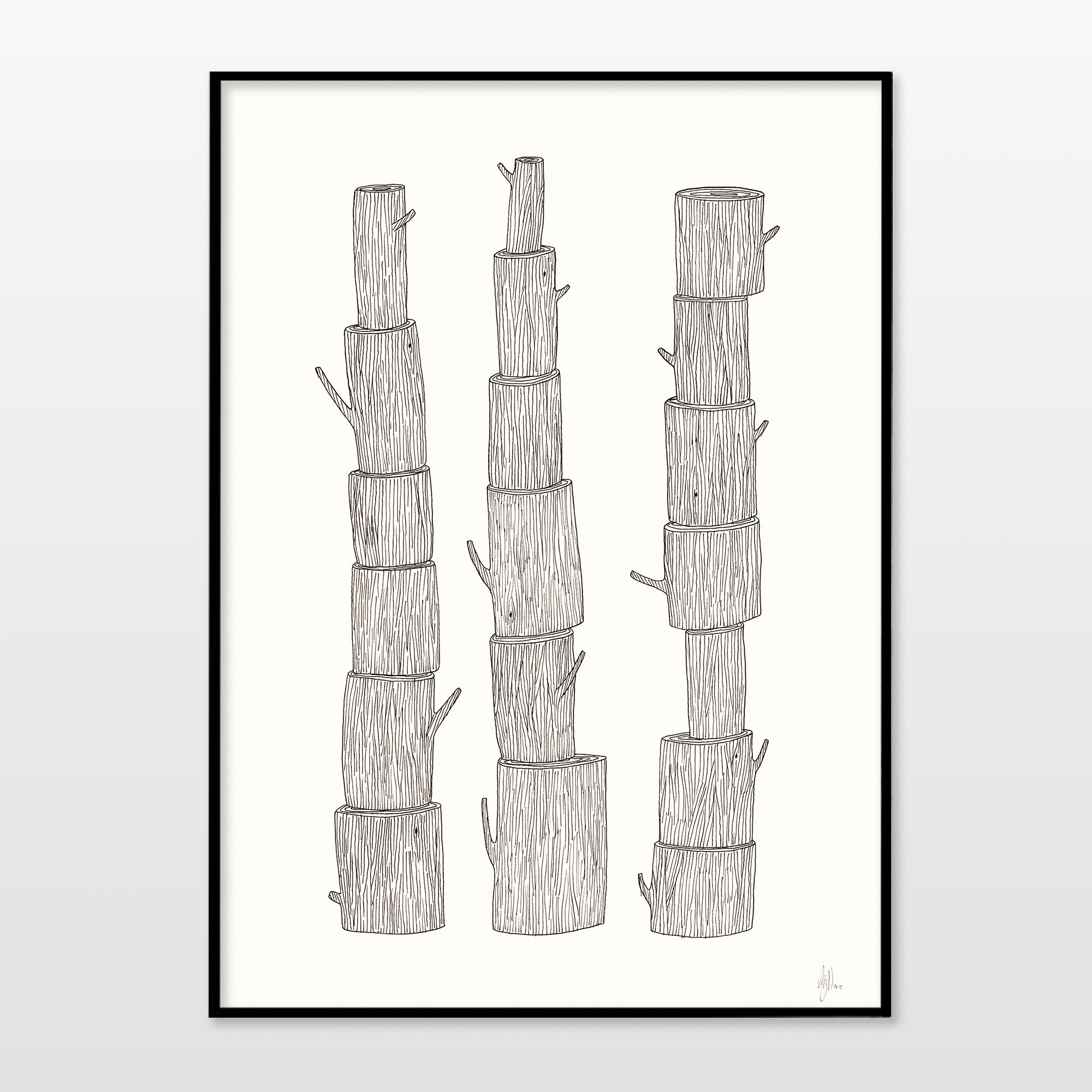art-prints, giclee, family-friendly, graphical, minimalistic, botany, nature, black, white, ink, paper, cute, danish, decorative, design, interior, interior-design, nordic, posters, prints, scandinavien, trees, Buy original high quality art. Paintings, drawings, limited edition prints & posters by talented artists.