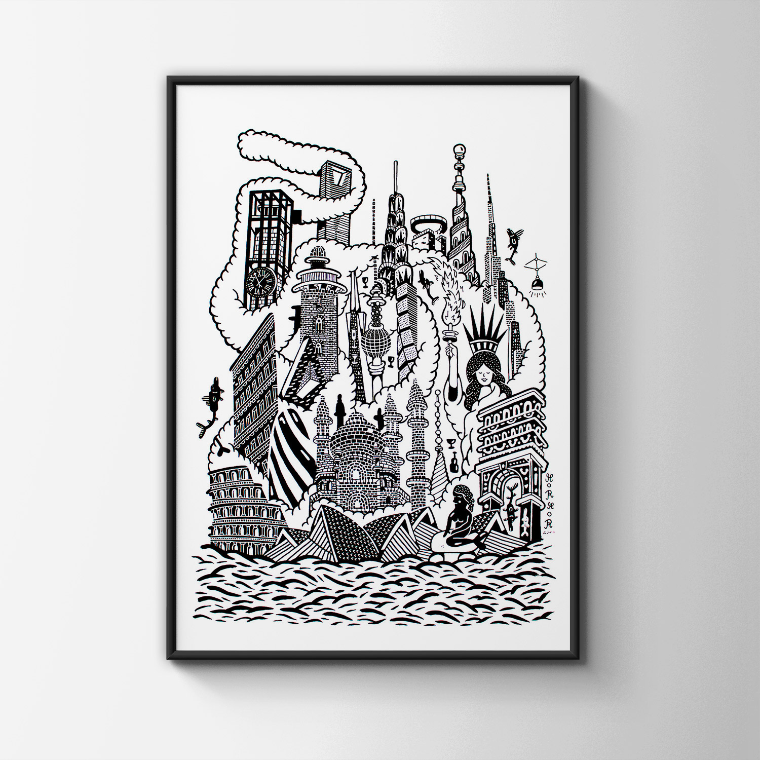 art-prints, gliceé, geometric, monochrome, architecture, humor, oceans, black, white, ink, paper, amusing, architectural, black-and-white, danish, decorative, design, fish, interior, interior-design, nordic, scandinavien, water, Buy original high quality art. Paintings, drawings, limited edition prints & posters by talented artists.