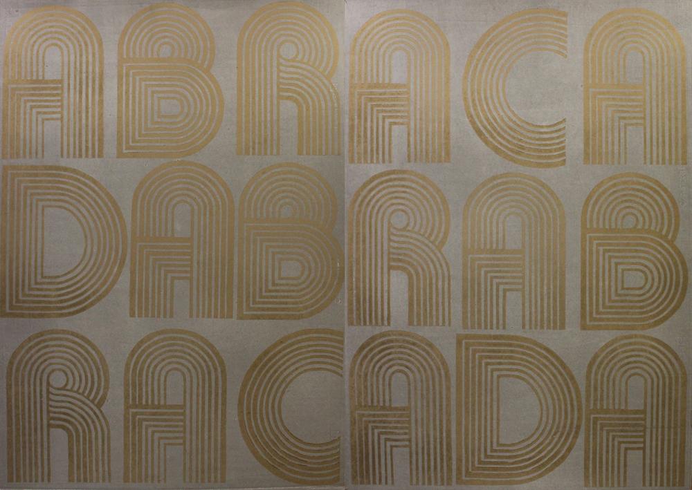 ABRACADABRA linocut- gold & silver