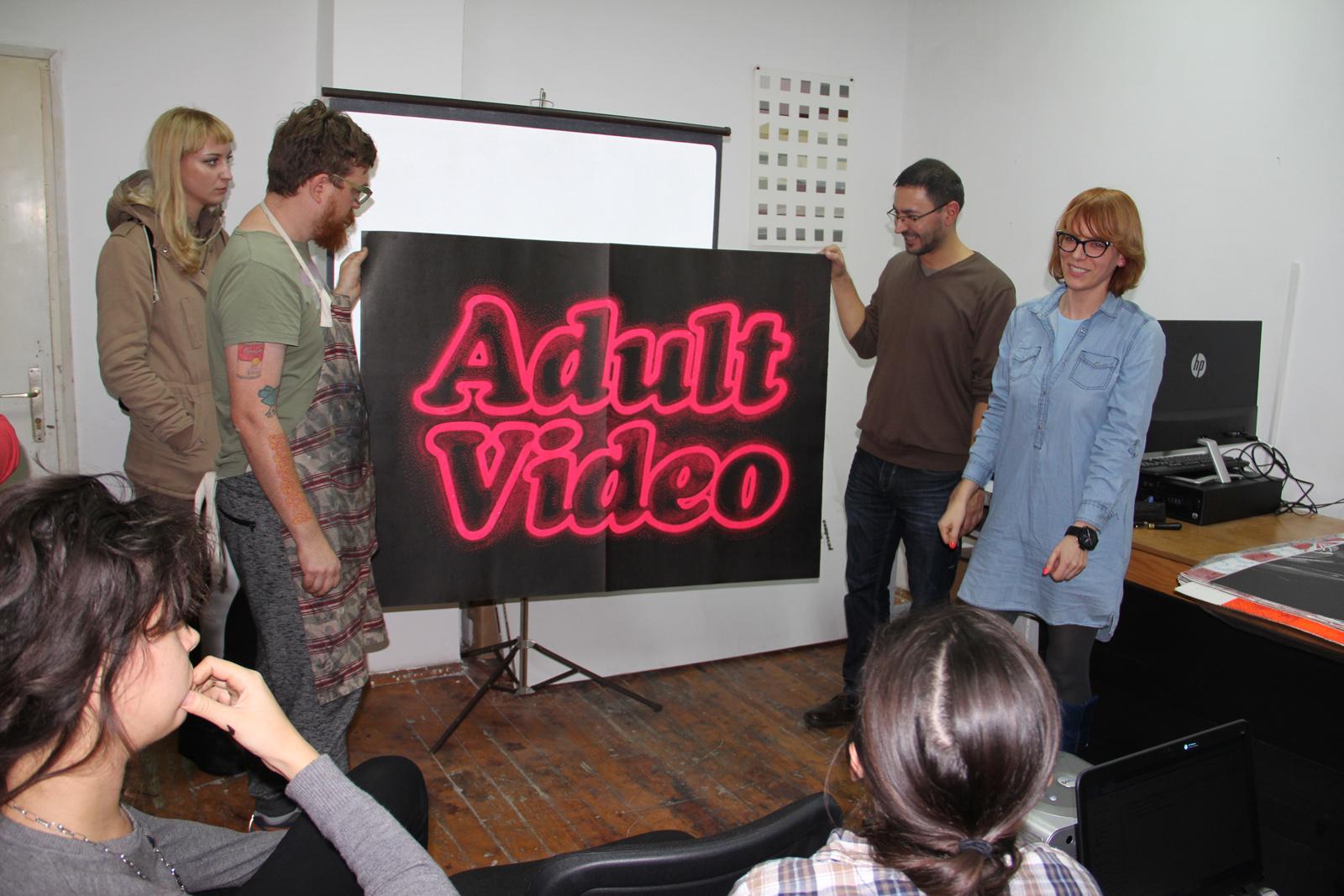 ADULT VIDEO linocut_art students