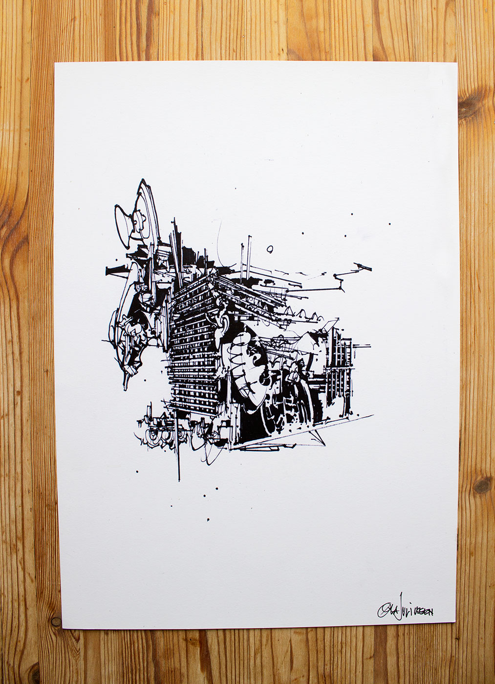 posters-prints, giclee-print, abstract, geometric, monochrome, architecture, patterns, black, white, ink, paper, abstract-forms, architectural, black-and-white, Buy original high quality art. Paintings, drawings, limited edition prints & posters by talented artists.
