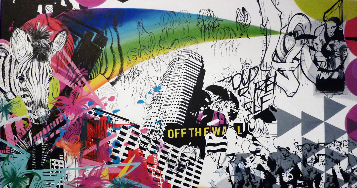 Off The Wall Arts paintings buildings, people-in, pop-art, street-art, black, pink