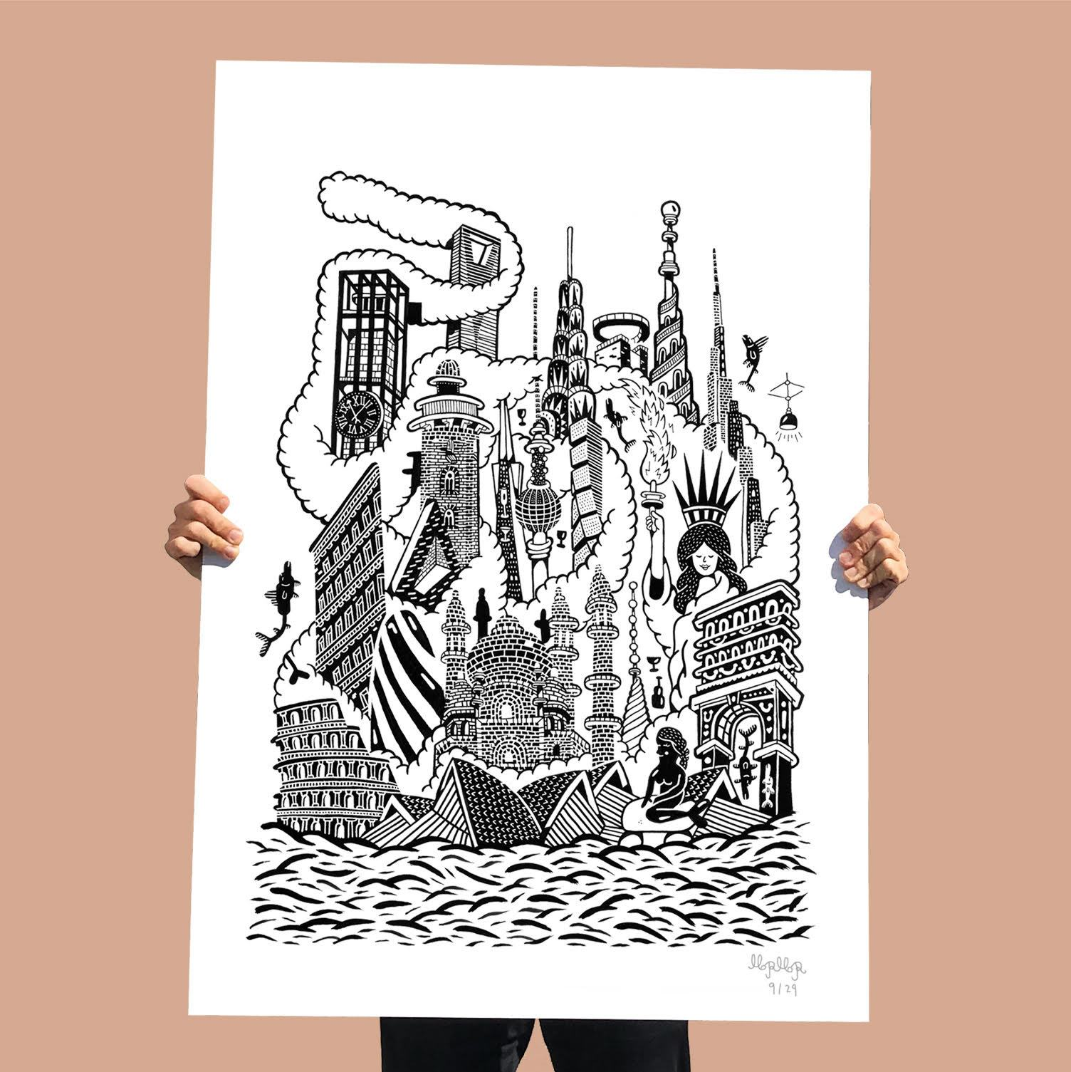 posters-prints, giclee-print, family-friendly, figurative, graphical, illustrative, landscape, pop, architecture, cartoons, children, humor, oceans, black, white, ink, paper, amusing, architectural, beach, black-and-white, buildings, celebrities, cities, contemporary-art, decorative, design, garden, interior, interior-design, modern, modern-art, Buy original high quality art. Paintings, drawings, limited edition prints & posters by talented artists.