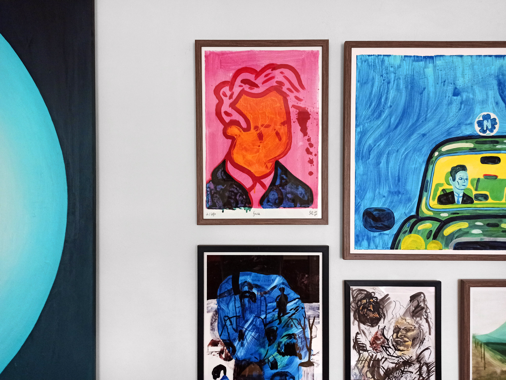 posters-prints, giclee-print, colorful, figurative, illustrative, pop, people, blue, pink, yellow, ink, paper, contemporary-art, danish, decorative, design, faces, interior, interior-design, modern, modern-art, nordic, posters, prints, scandinavien, Buy original high quality art. Paintings, drawings, limited edition prints & posters by talented artists.