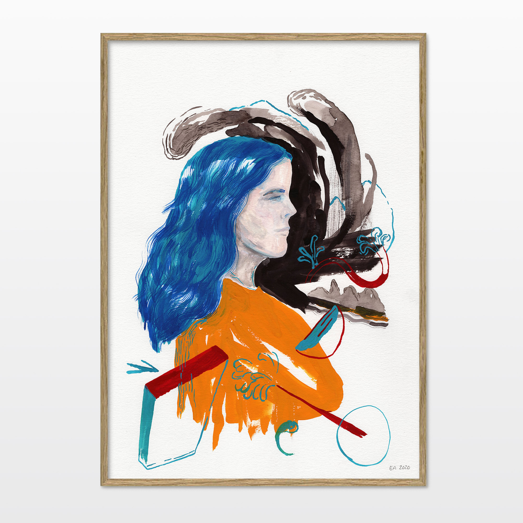drawings, watercolor-paintings, aesthetic, colorful, figurative, graphical, illustrative, bodies, botany, people, black, blue, orange, acrylic, ink, paper, watercolor, beautiful, danish, decorative, design, faces, female, interior, interior-design, modern, modern-art, nordic, plants, posters, pretty, scandinavien, women, Buy original high quality art. Paintings, drawings, limited edition prints & posters by talented artists.
