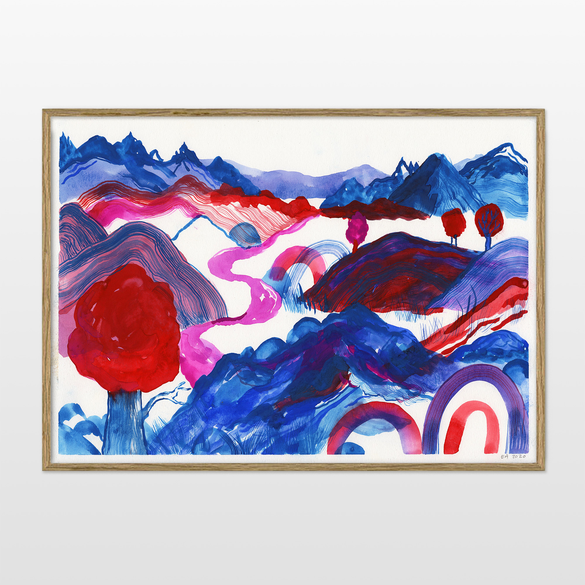 drawings, watercolor-paintings, aesthetic, colorful, family-friendly, figurative, landscape, botany, nature, patterns, blue, red, turquoise, violet, ink, watercolor, beautiful, danish, decorative, design, forest, modern, modern-art, nordic, posters, pretty, prints, scandinavien, Buy original high quality art. Paintings, drawings, limited edition prints & posters by talented artists.
