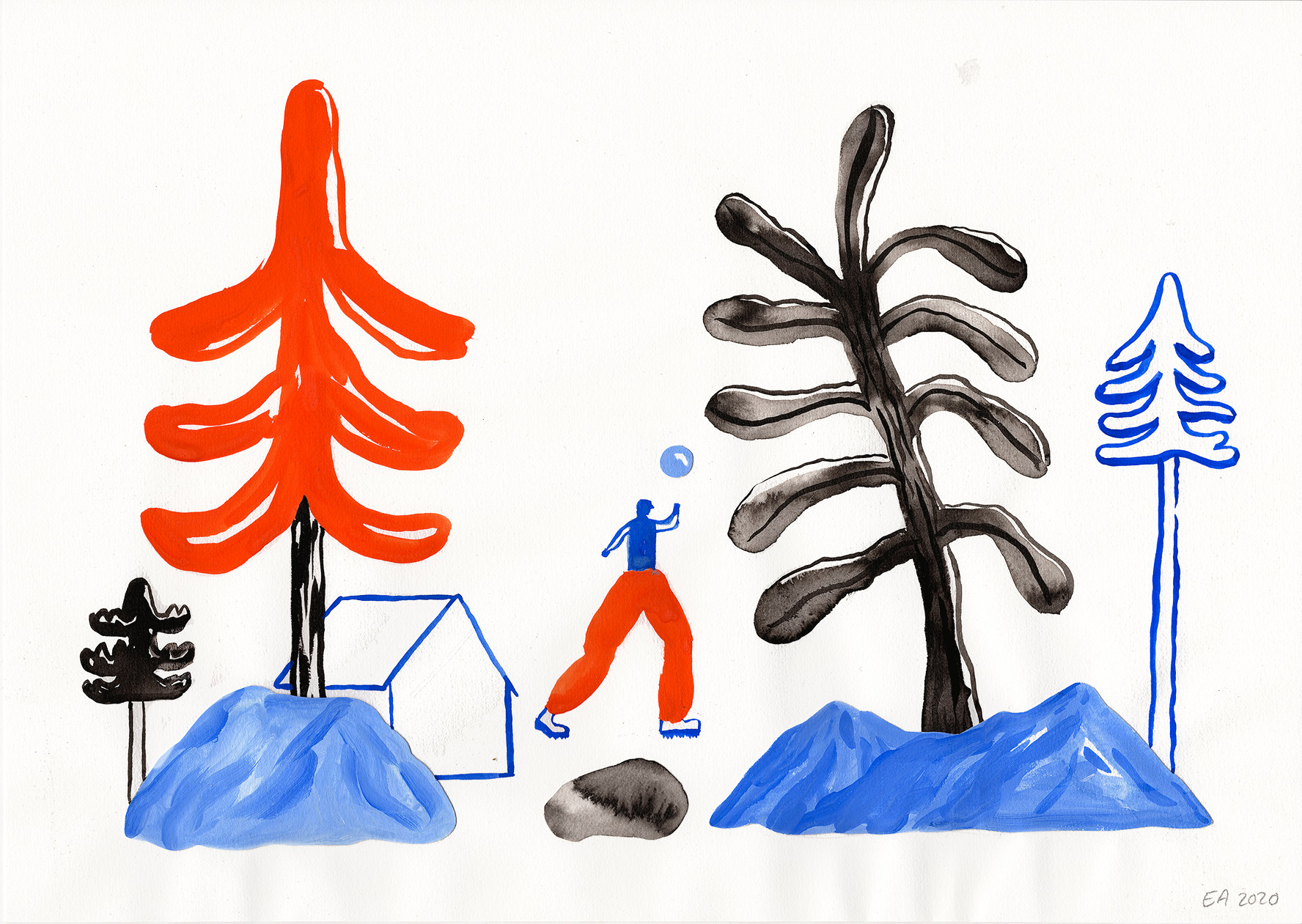 drawings, watercolor-paintings, collages, aesthetic, colorful, family-friendly, graphical, illustrative, minimalistic, botany, cartoons, nature, people, black, blue, red, acrylic, paper, watercolor, beautiful, danish, decorative, design, forest, interior, interior-design, modern, modern-art, nordic, posters, pretty, scandinavien, trees, Buy original high quality art. Paintings, drawings, limited edition prints & posters by talented artists.
