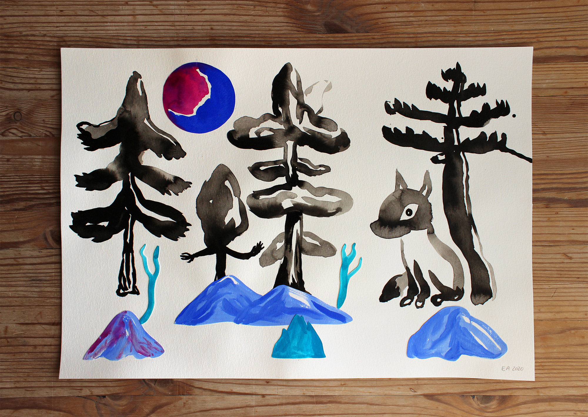 drawings, gouache-painting, watercolor-paintings, colorful, family-friendly, figurative, landscape, minimalistic, pop, animals, botany, nature, wildlife, black, blue, gouache, ink, paper, beautiful, danish, decorative, design, forest, interior, interior-design, modern, mountains, nordic, plants, posters, pretty, prints, scandinavien, Buy original high quality art. Paintings, drawings, limited edition prints & posters by talented artists.