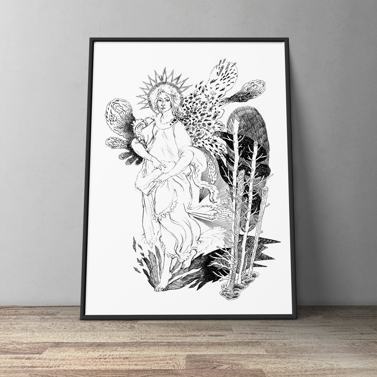"women in the famous painting ""Primavera"" by the Renaissance painter Sandro Botticelli, art-prints, gliceé, aesthetic, figurative, landscape, monochrome, bodies, botany, sexuality, black, white, ink, paper, black-and-white, flowers, nudity, plants, Buy original high quality art. Paintings, drawings, limited edition prints & posters by talented artists."