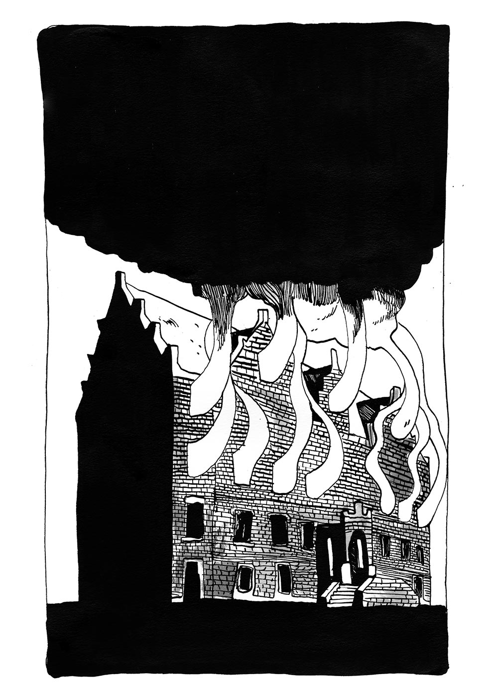 art-prints, gliceé, graphical, illustrative, monochrome, architecture, sky, black, white, ink, paper, atmosphere, black-and-white, buildings, Buy original high quality art. Paintings, drawings, limited edition prints & posters by talented artists.