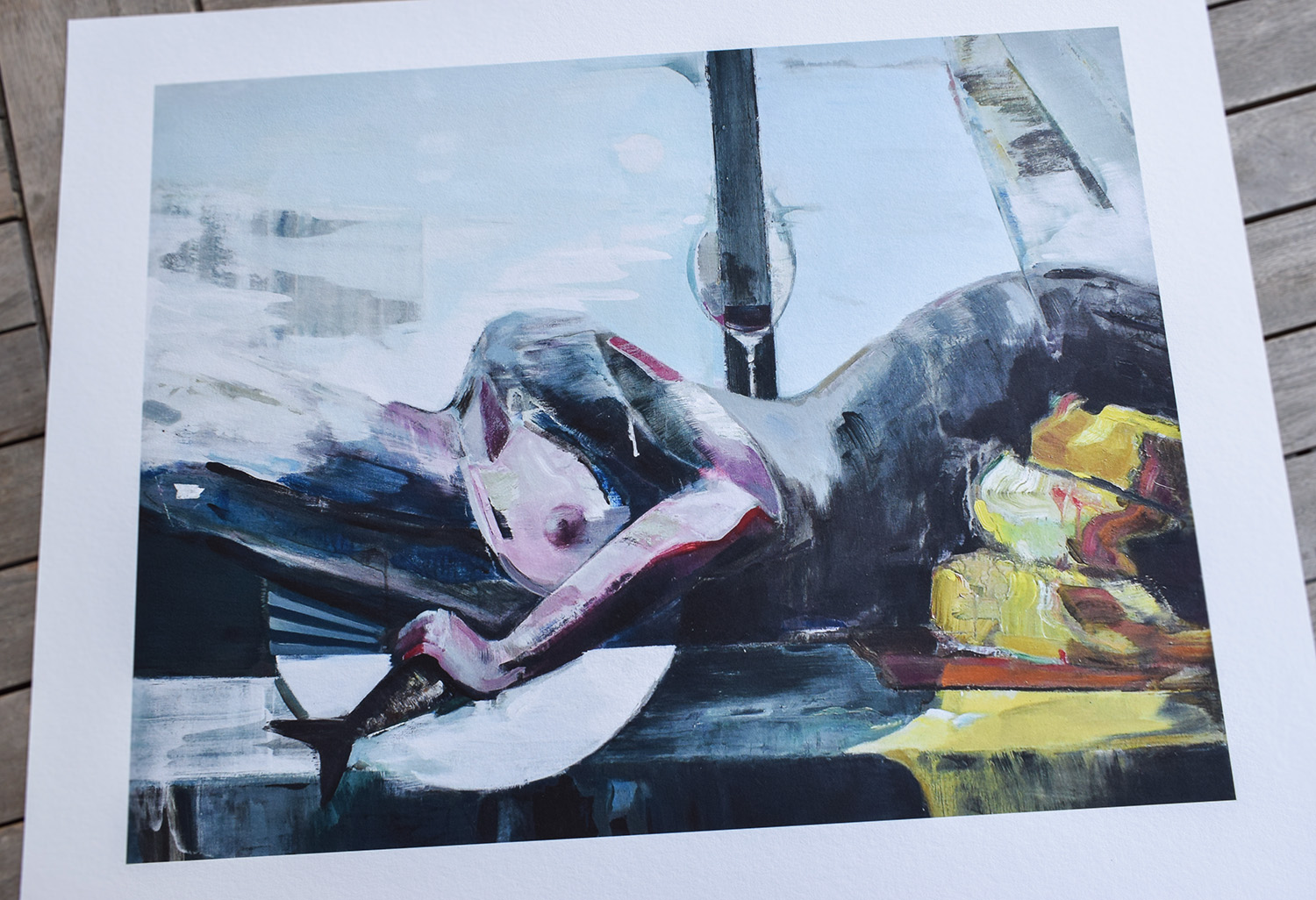 The supper -  limited edition fine art print by marck fink horse woman graphics ocean sea