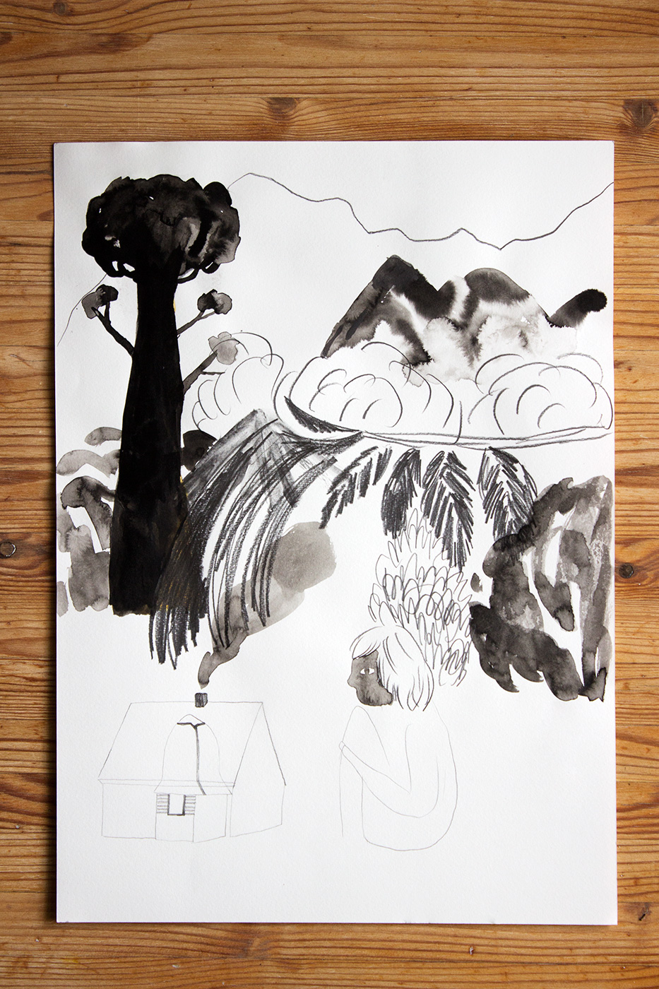 drawings, gouache, watercolors, figurative, geometric, landscape, portraiture, architecture, botany, nature, black, grey, white, artliner, gouache, ink, paper, watercolor, buildings, decorative, flowers, interior, interior-design, scenery, trees, Buy original high quality art. Paintings, drawings, limited edition prints & posters by talented artists.