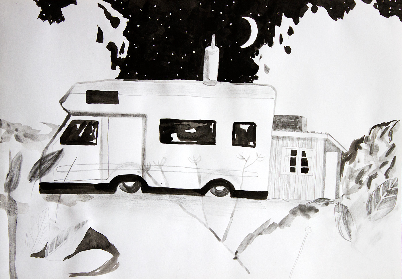 drawings, watercolors, aesthetic, figurative, landscape, monochrome, botany, nature, sky, black, white, artliner, ink, paper, watercolor, black-and-white, cars, decorative, interior, interior-design, scenery, trees, Buy original high quality art. Paintings, drawings, limited edition prints & posters by talented artists.