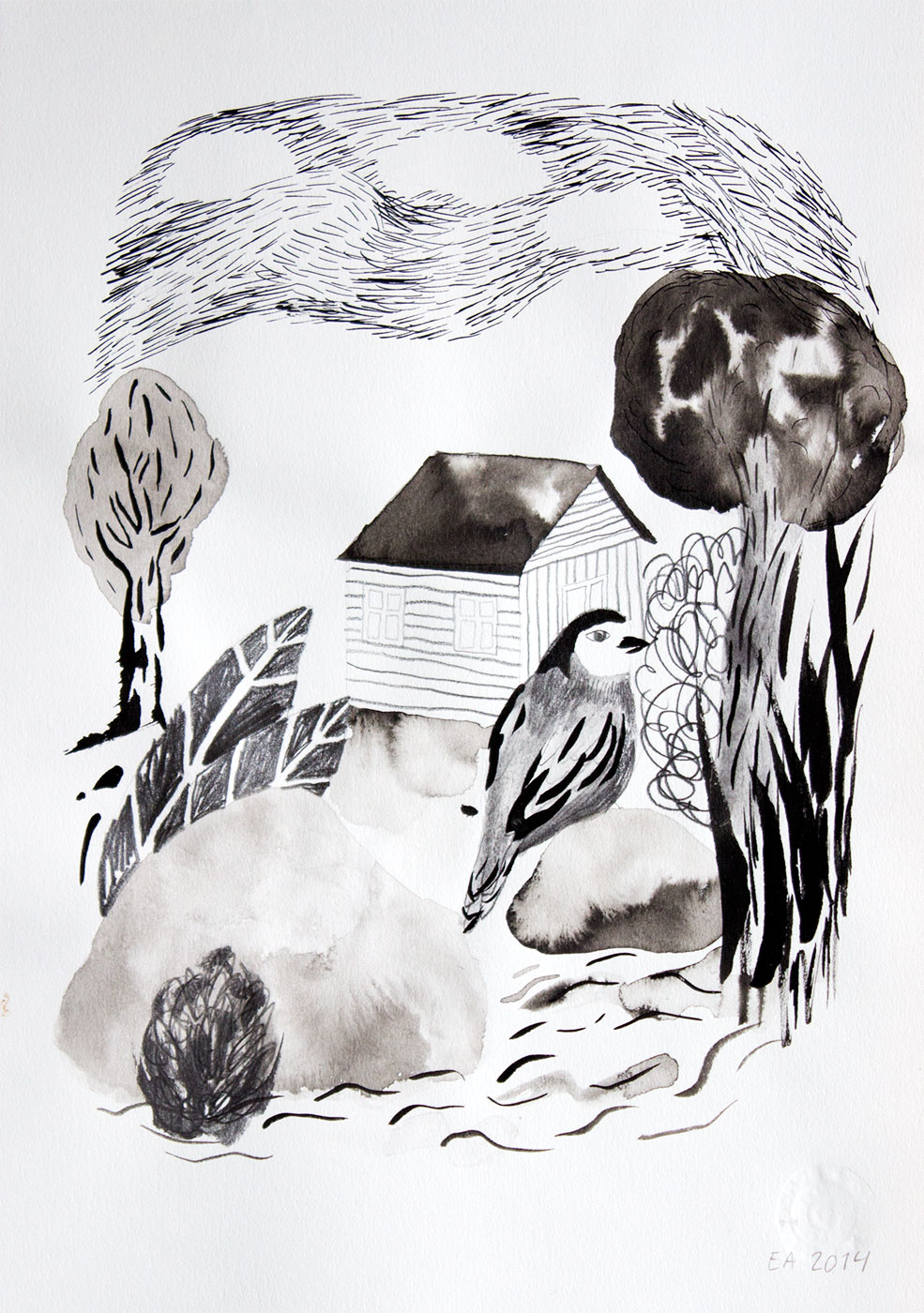 drawings, gouache, watercolors, geometric, landscape, architecture, botany, nature, patterns, pets, black, grey, white, artliner, paper, watercolor, beautiful, birds, decorative, flowers, interior, interior-design, scenery, water, Buy original high quality art. Paintings, drawings, limited edition prints & posters by talented artists.