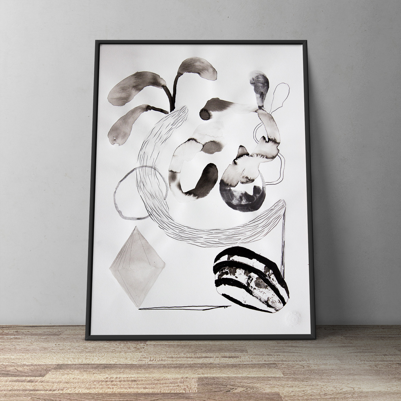 drawings, gouache, watercolors, abstract, illustrative, minimalistic, monochrome, botany, patterns, black, grey, white, artliner, watercolor, abstract-forms, decorative, flowers, forest, interior, interior-design, plants, trees, Buy original high quality art. Paintings, drawings, limited edition prints & posters by talented artists.