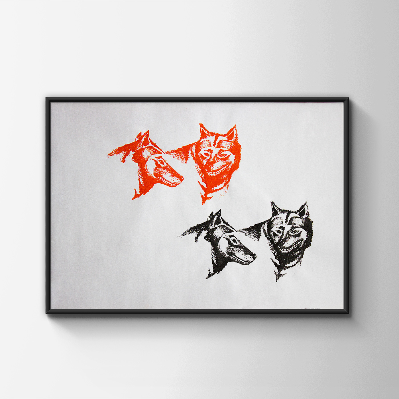 art-prints, serigraphs, animal, graphical, animals, humor, black, red, ink, paper, amusing, decorative, design, interior, interior-design, wild-animals, Buy original high quality art. Paintings, drawings, limited edition prints & posters by talented artists.