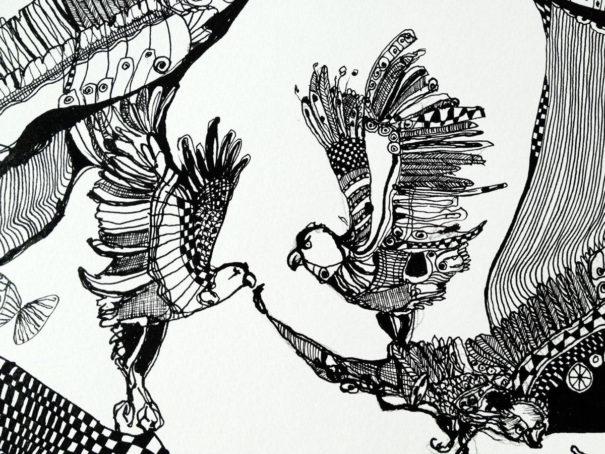 drawings animals botanical landscape surrealistic black white