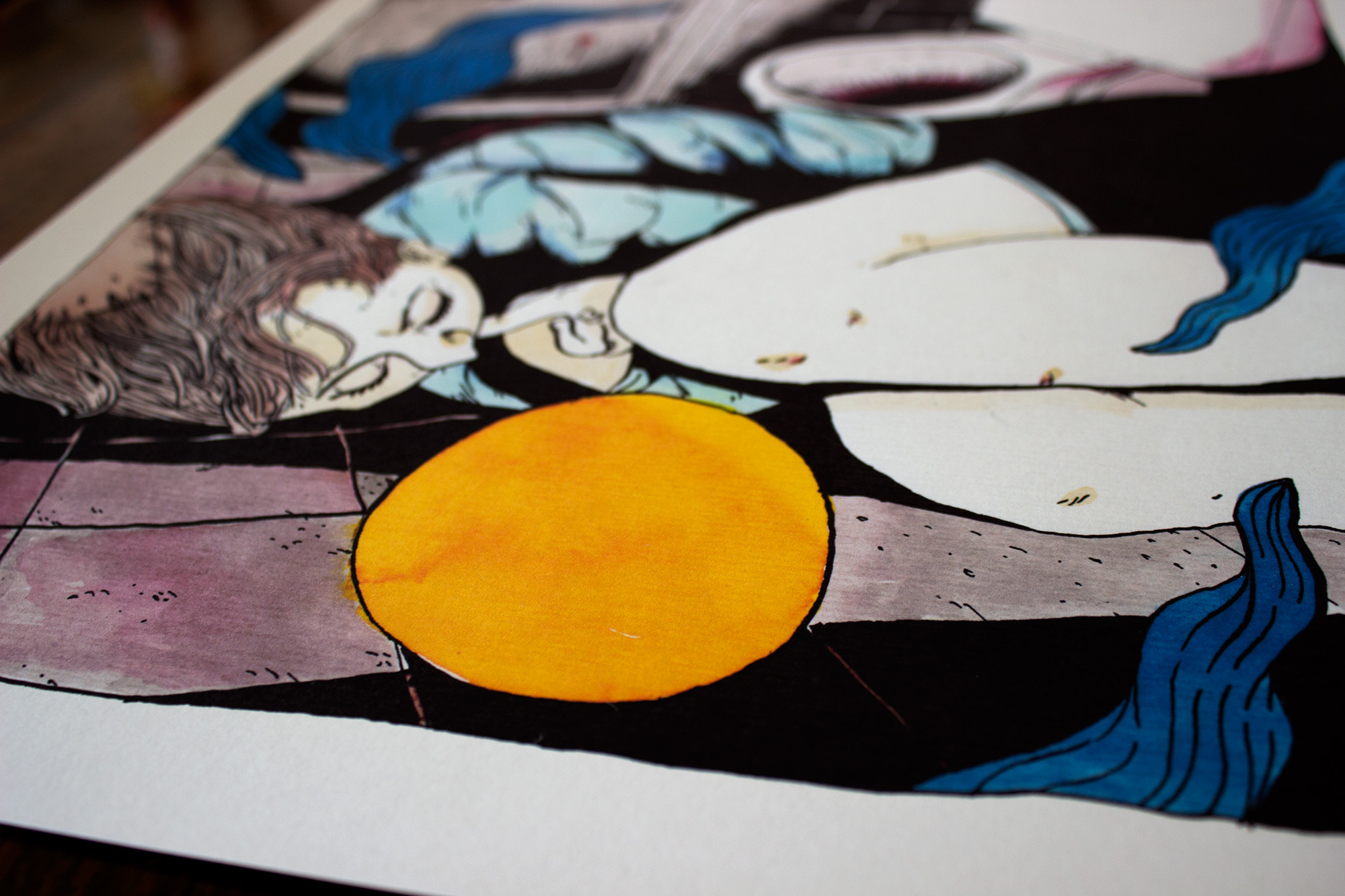 art-prints, gliceé, figurative, graphical, illustrative, portraiture, bodies, cartoons, people, black, blue, white, yellow, paper, marker, watercolor, contemporary-art, danish, decorative, design, expressionism, interior, interior-design, modern, modern-art, nordic, scandinavien, vivid, Buy original high quality art. Paintings, drawings, limited edition prints & posters by talented artists.