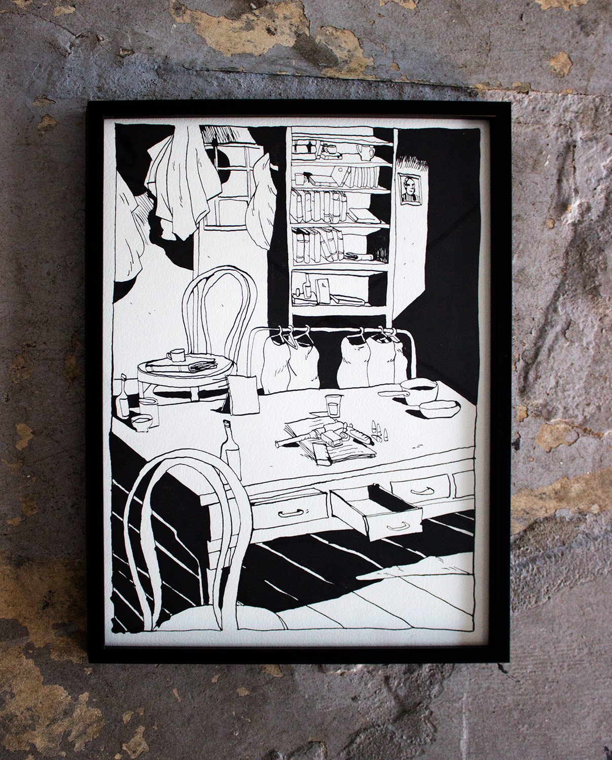 room with gun - strong and expressive art illustrations and drawings, talented Danish illustrator, cartoonist