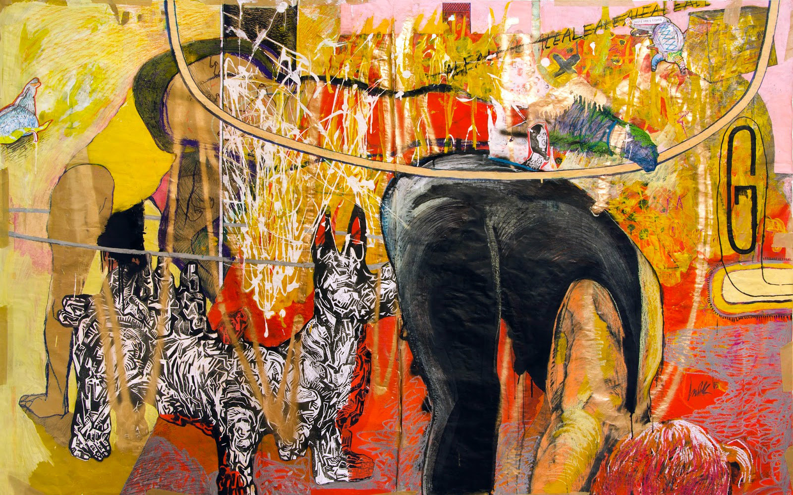 paintings, expressive, illustrative, animals, moods, movement, pets, black, gold, red, yellow, paper, marker, oil, pencils, other-mediums, abstract-forms, amusing, contemporary-art, danish, decorative, design, dogs, interior, interior-design, modern, modern-art, nordic, scandinavien, Buy original high quality art. Paintings, drawings, limited edition prints & posters by talented artists.