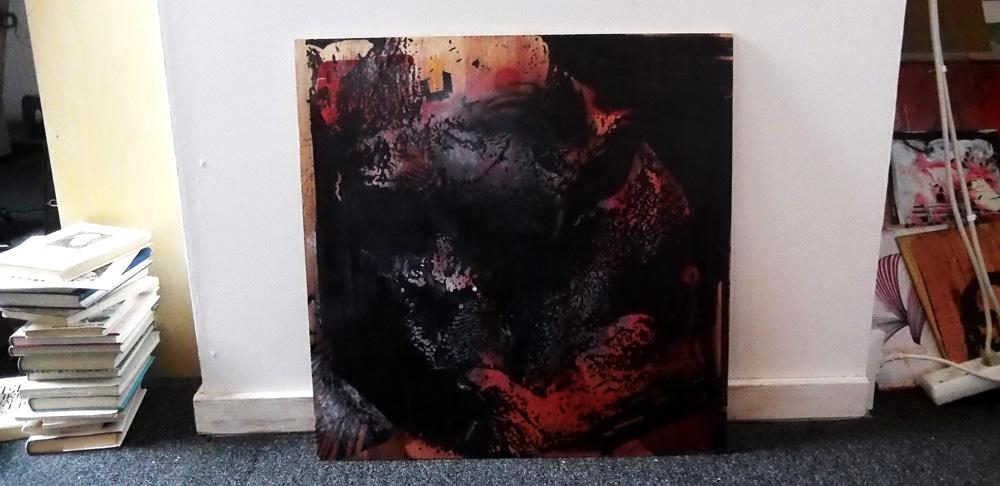 unikt Abstrakt rødt sort gråt stort originalt maleri til din bolig fantastisk indretning