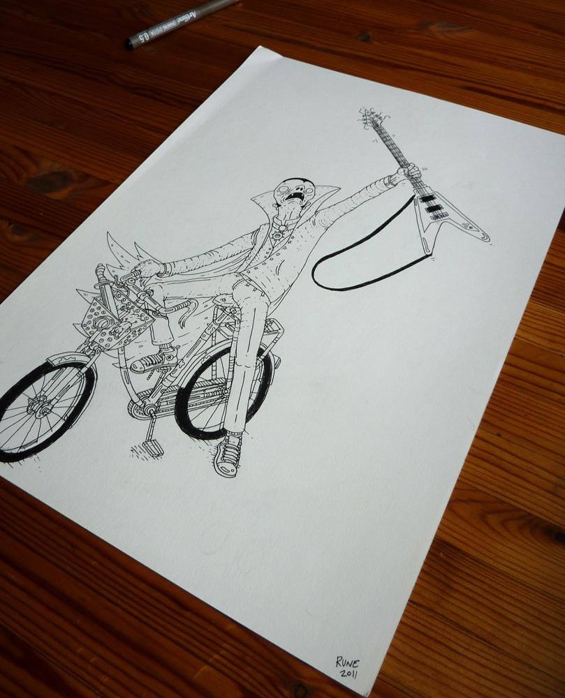 Street Bike Drawings Moped Guitar Bike