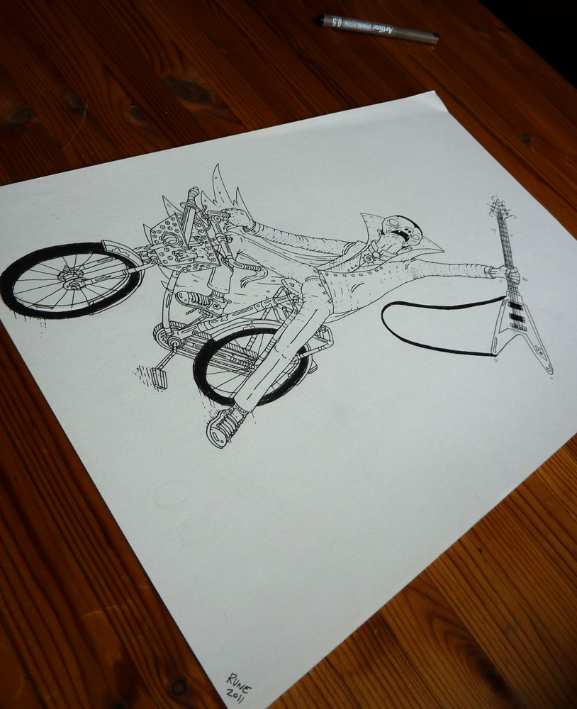 moped, guitar, bike, illustrations and drawings, art, art gallery, gallery, funny drawing, street art, pop culture, inspiration,