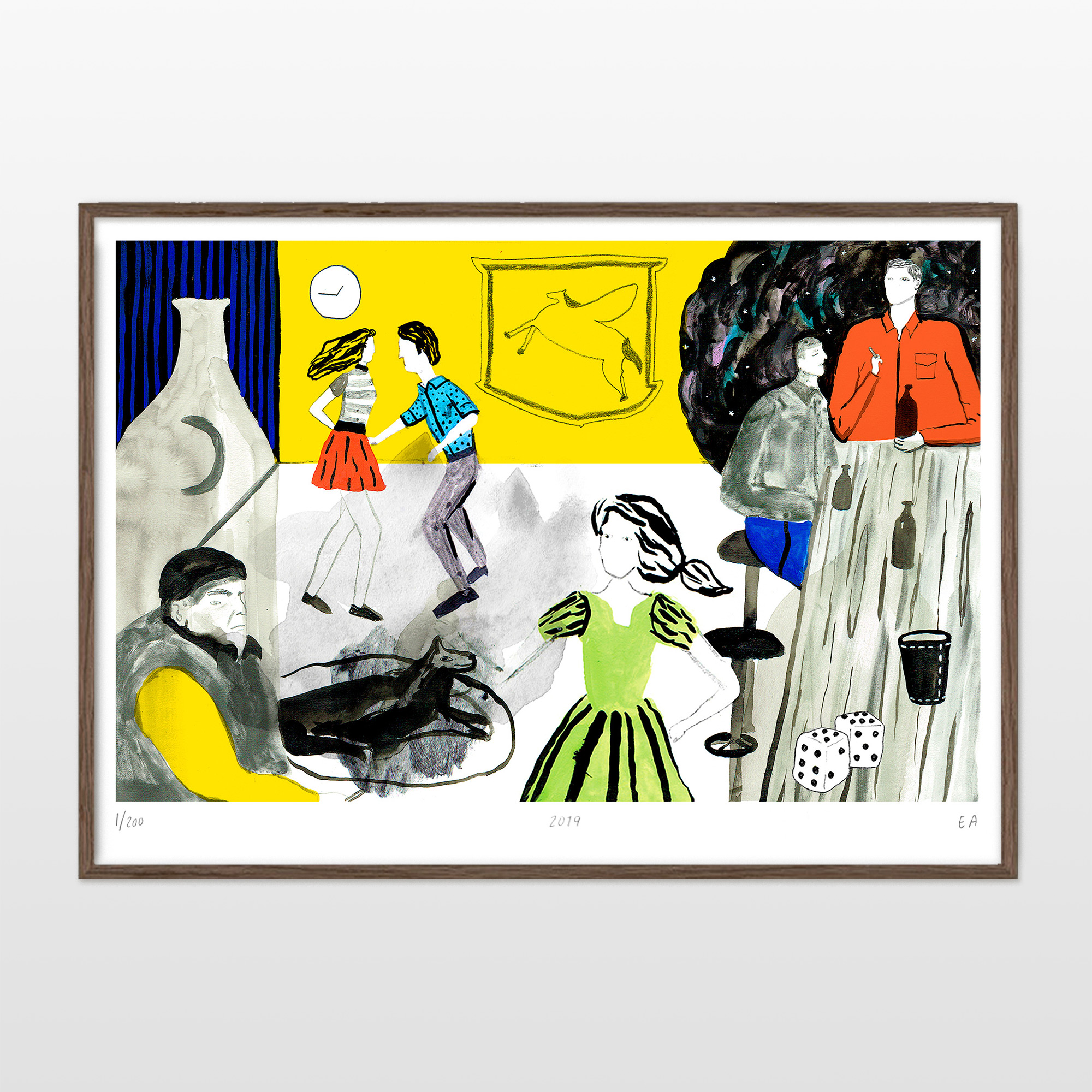 posters-prints, giclee-print, colorful, illustrative, pop, everyday life, movement, people, black, green, grey, red, ink, paper, contemporary-art, dance, danish, design, drinks, female, interior, interior-design, modern, modern-art, nordic, party, scandinavien, Buy original high quality art. Paintings, drawings, limited edition prints & posters by talented artists.
