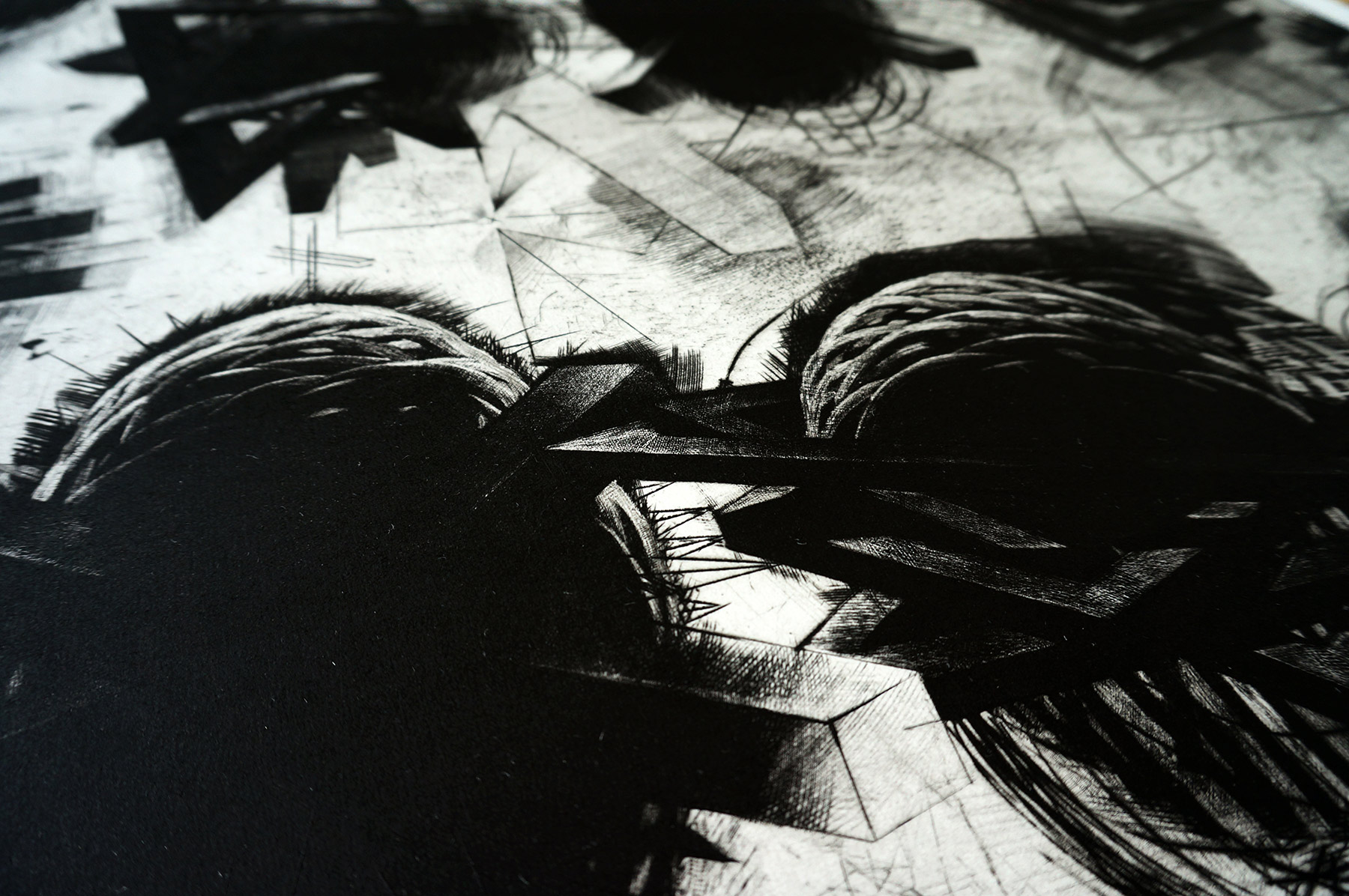 art-prints, engravings, abstract, graphical, monochrome, movement, patterns, black, grey, white, ink, paper, abstract-forms, atmosphere, black-and-white, conceptual, danish, decorative, design, interior, interior-design, nordic, scandinavien, Buy original high quality art. Paintings, drawings, limited edition prints & posters by talented artists.