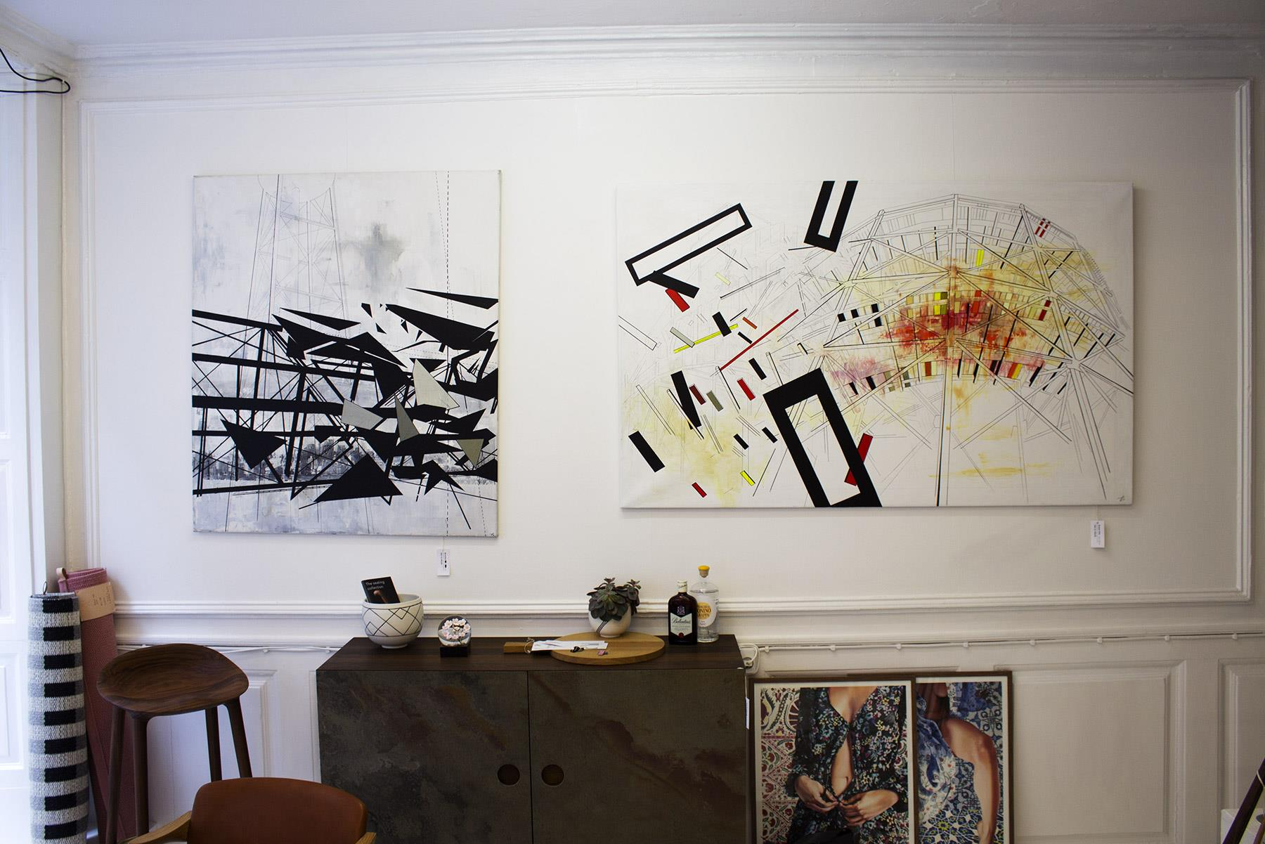 paintings, collages, abstract, geometric, graphical, architecture, beige, black, grey, white, acrylic, marker, abstract-forms, architectural, buildings, design, interior, interior-design, Buy original high quality art. Paintings, drawings, limited edition prints & posters by talented artists.