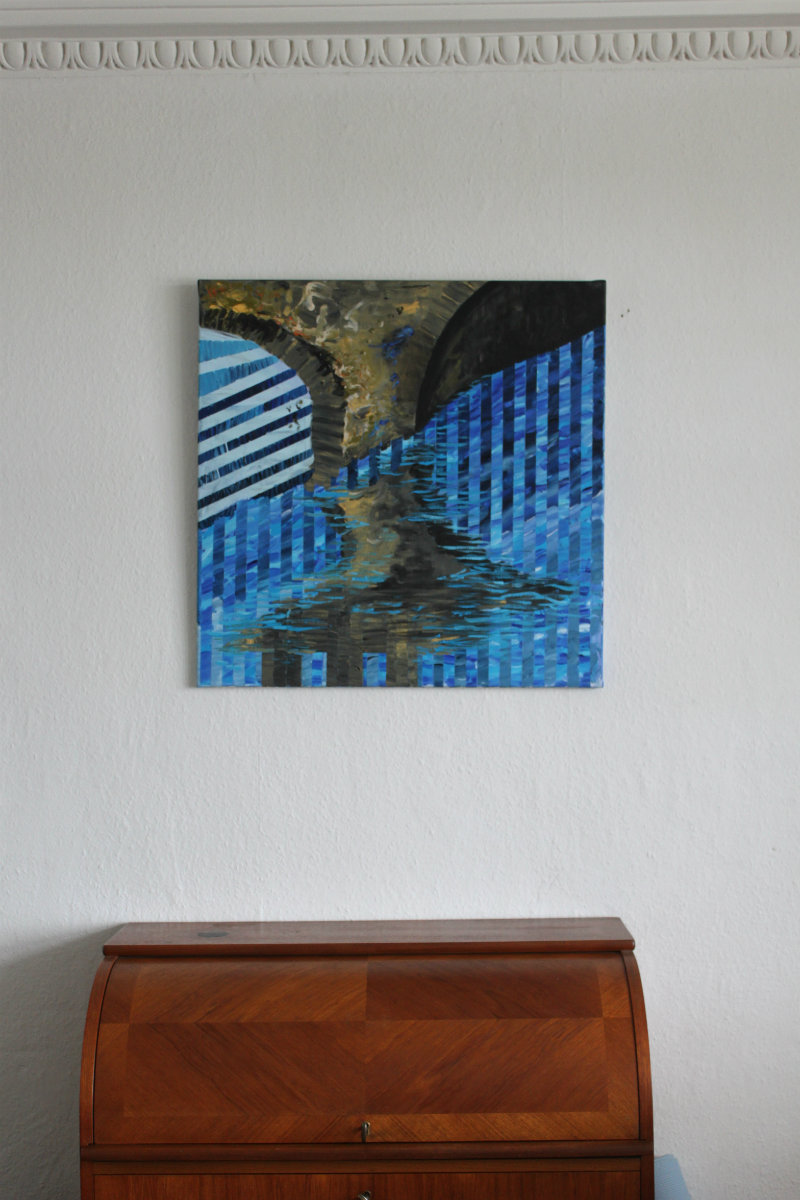 bridge water streaks blue colors abstract paintings galleries artists art decor