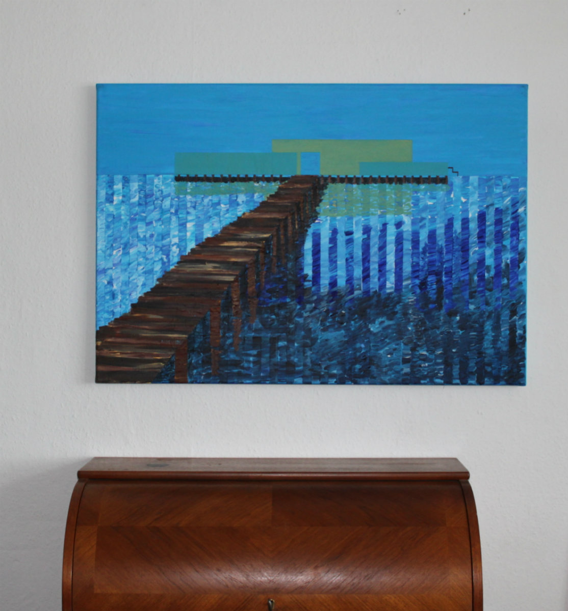 blue jetty water - gallery modern art blue bridge abstract