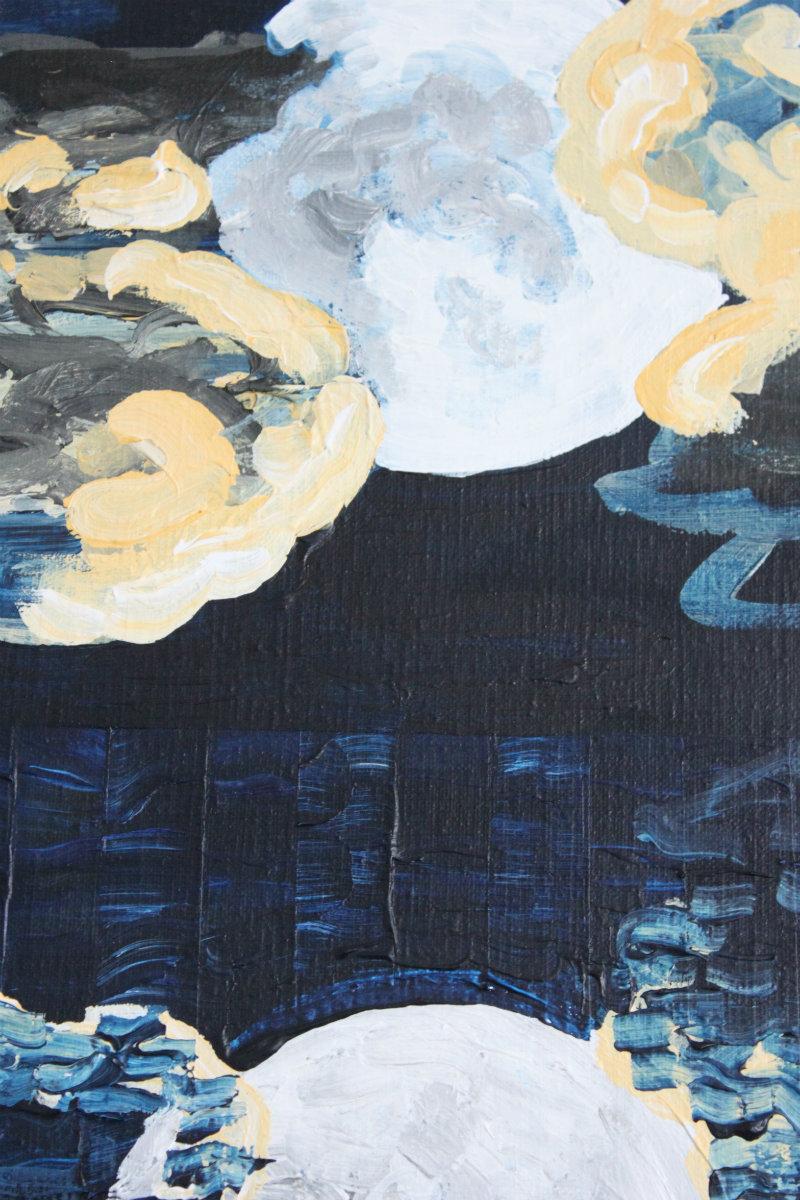full moon night sea - gallery art painting modern blue