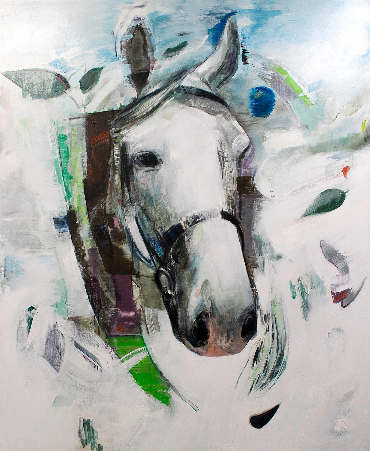 paintings, animal, graphical, animals, wildlife, blue, green, white, acrylic, flax-canvas, contemporary-art, decorative, design, horses, interior, interior-design, modern, modern-art, nordic, scandinavien, Buy original high quality art. Paintings, drawings, limited edition prints & posters by talented artists.