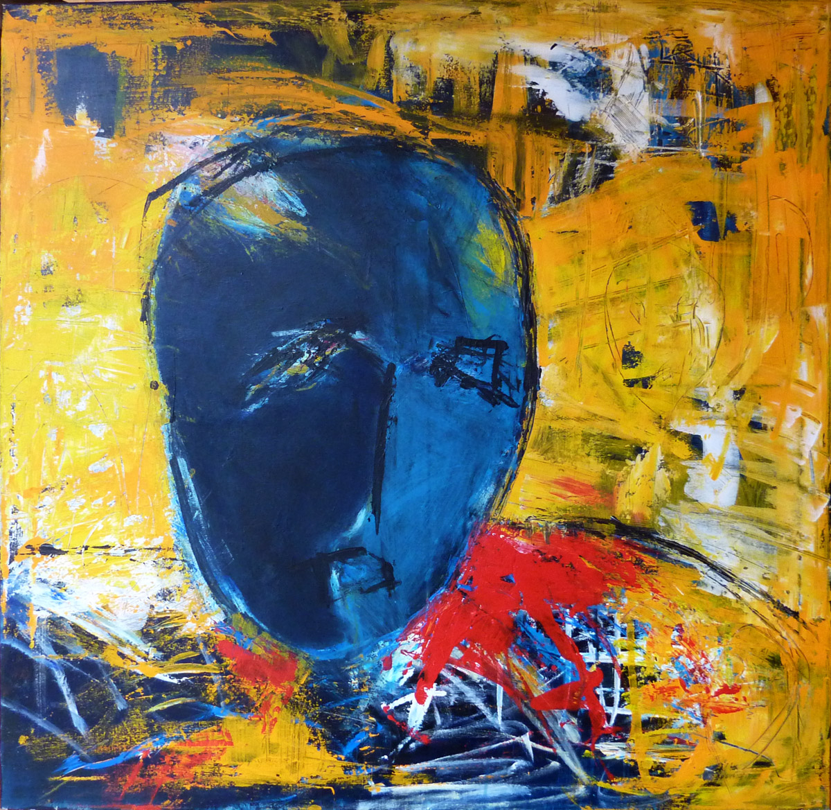 paintings abstract, expressionism, people-in, dark-blue, red ...