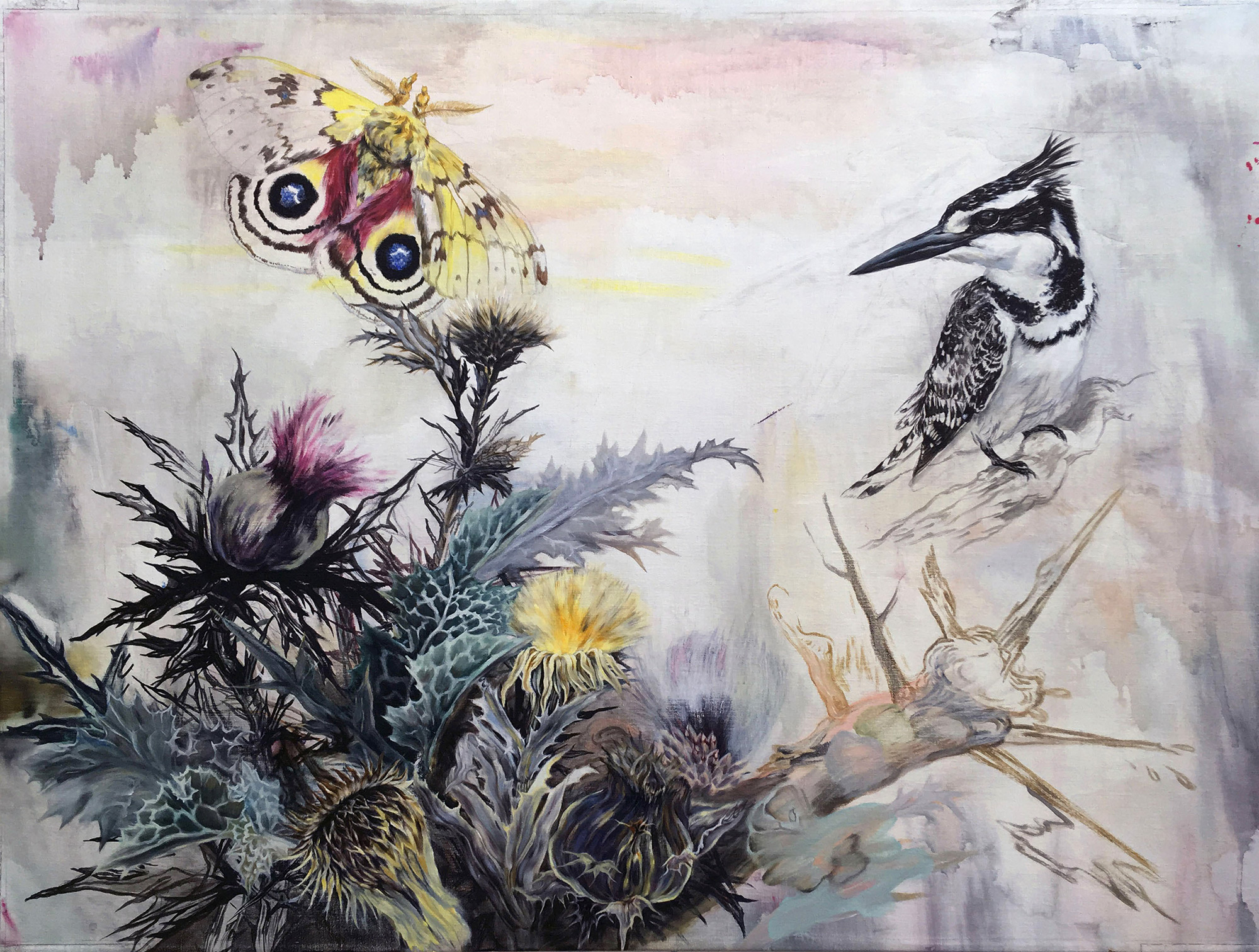 paintings, aesthetic, animal, colorful, landscape, animals, botany, insects, movement, wildlife, green, grey, yellow, acrylic, flax-canvas, abstract-forms, Buy original high quality art. Paintings, drawings, limited edition prints & posters by talented artists.