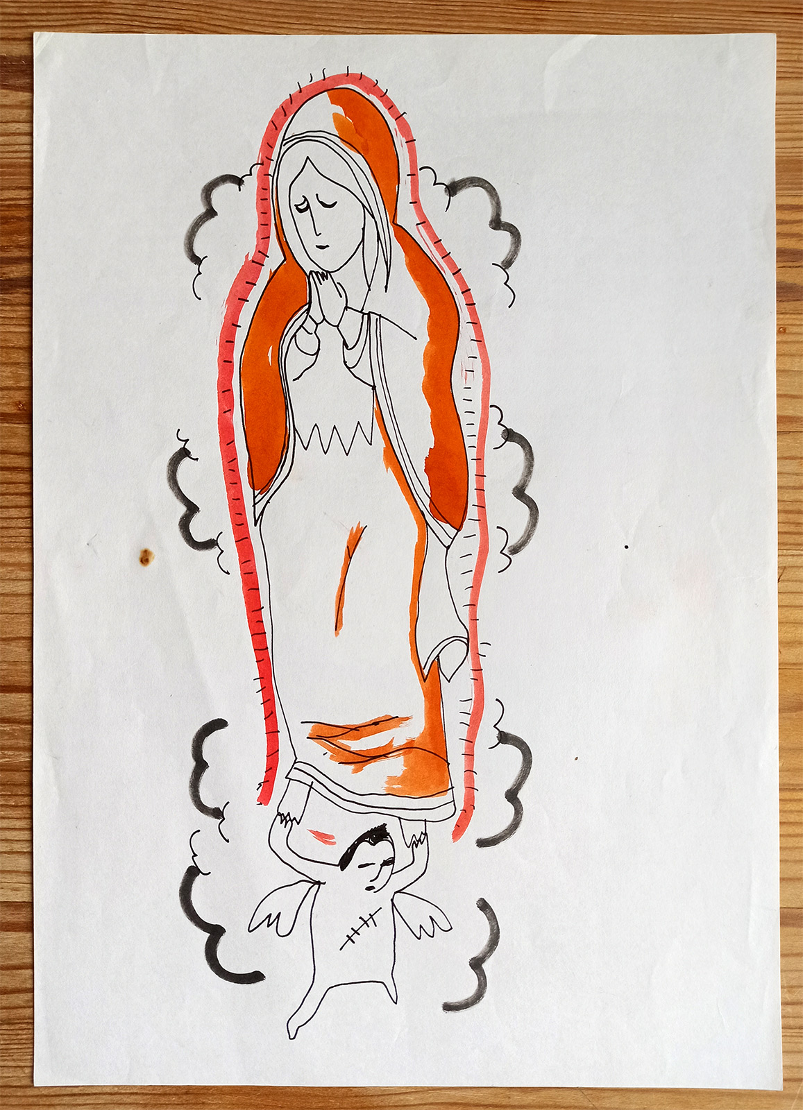 drawings, aesthetic, figurative, graphical, people, religion, orange, paper, marker, contemporary-art, female, modern, modern-art, women, Buy original high quality art. Paintings, drawings, limited edition prints & posters by talented artists.