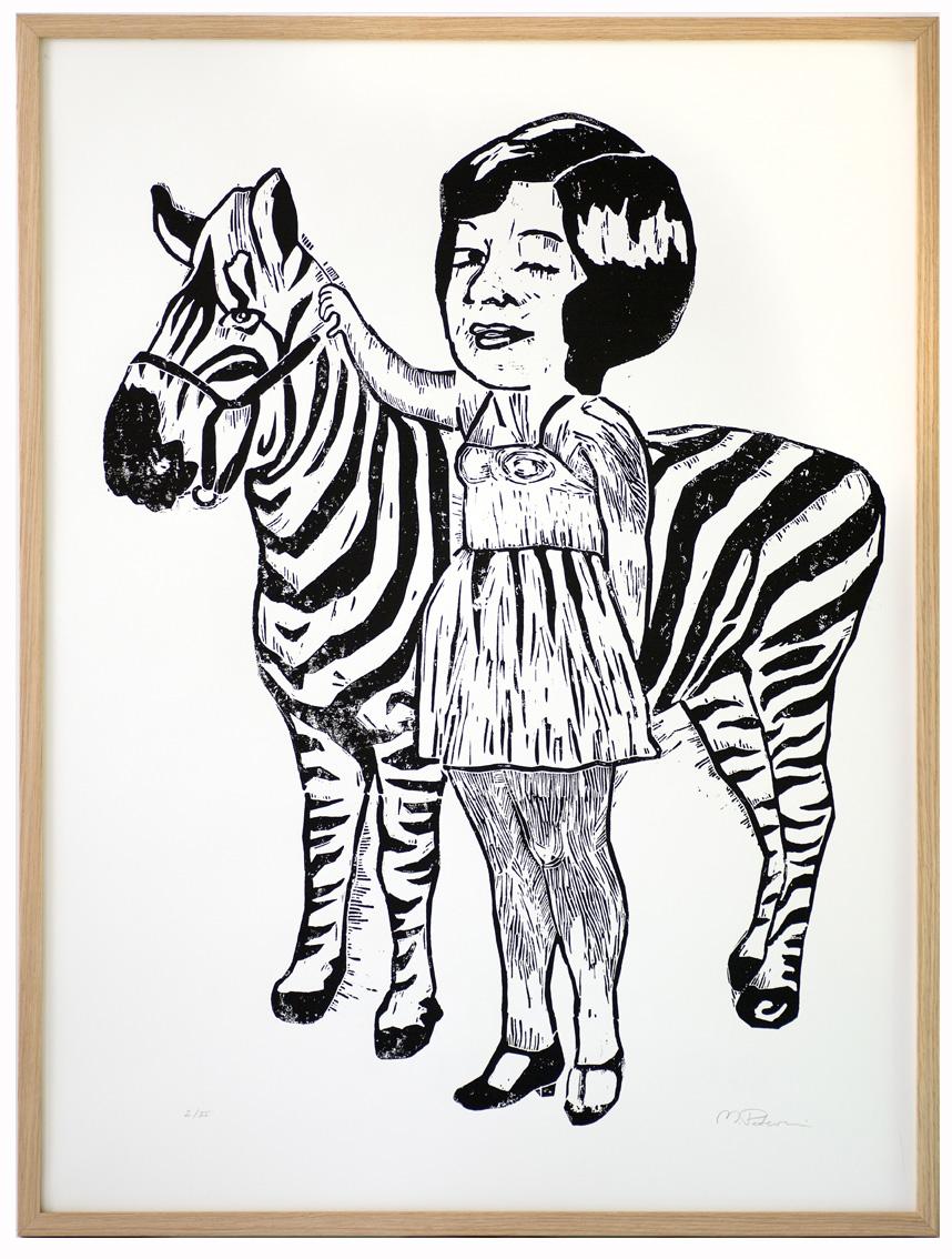 monika petersen. zebra girl. lino print .framed