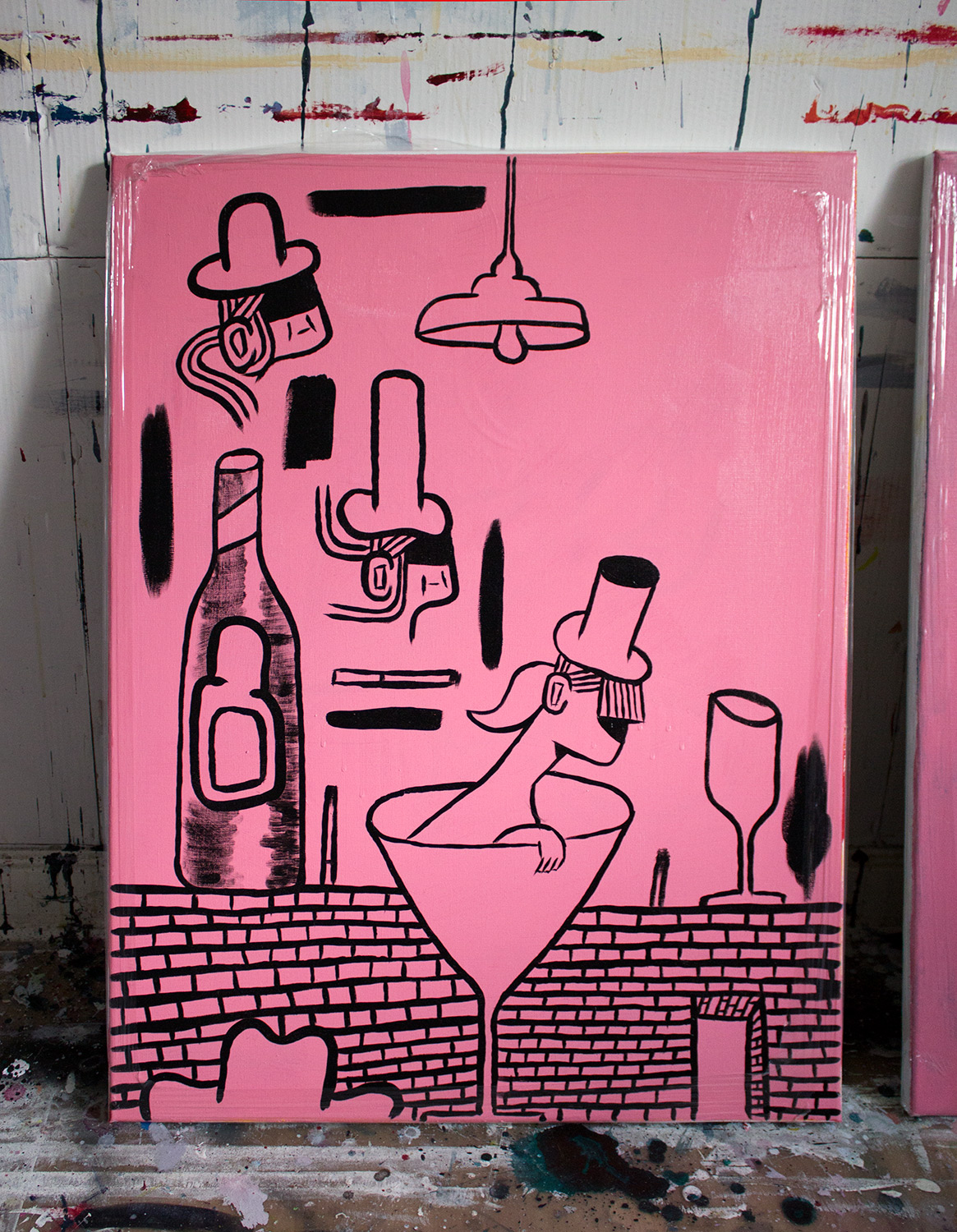 paintings, figurative, pop, portraiture, still-life, bodies, everyday life, humor, black, pink, acrylic, cotton-canvas, amusing, contemporary-art, danish, decorative, design, food, interior, interior-design, love, modern, modern-art, nordic, scandinavien, street-art, Buy original high quality art. Paintings, drawings, limited edition prints & posters by talented artists.