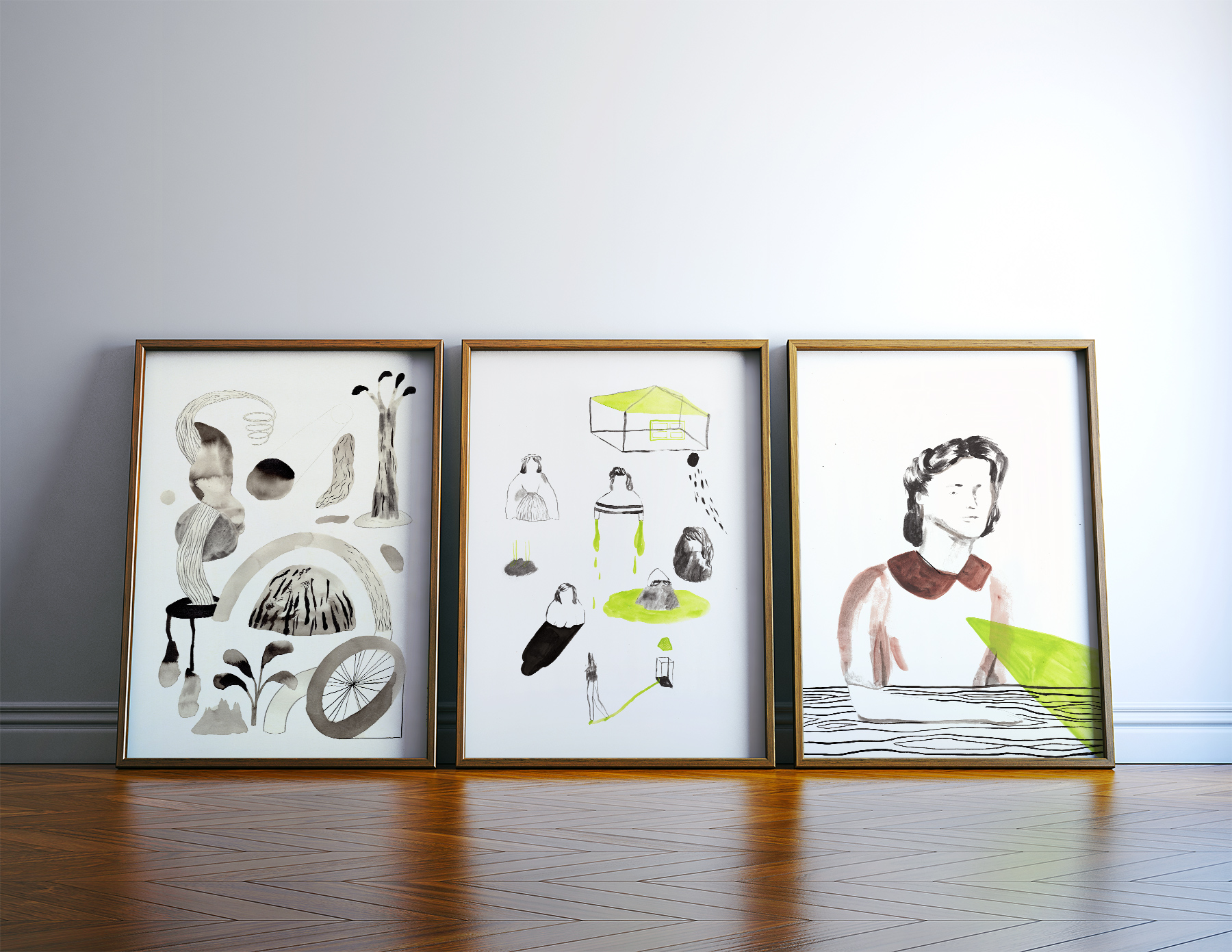 art-prints, gliceé, aesthetic, family-friendly, illustrative, portraiture, bodies, moods, people, black, green, white, ink, paper, buildings, danish, decorative, design, faces, interior, interior-design, men, nordic, scandinavien, women, Buy original high quality art. Paintings, drawings, limited edition prints & posters by talented artists.