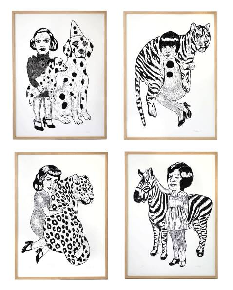 art-prints, linocuts, engravings, animal, family-friendly, figurative, graphical, portraiture, bodies, cartoons, humor, pets, black, white, acrylic, ink, paper, amusing, copenhagen, cute, danish, decorative, design, dogs, female, interior, interior-design, nordic, scandinavien, women, Buy original high quality art. Paintings, drawings, limited edition prints & posters by talented artists.