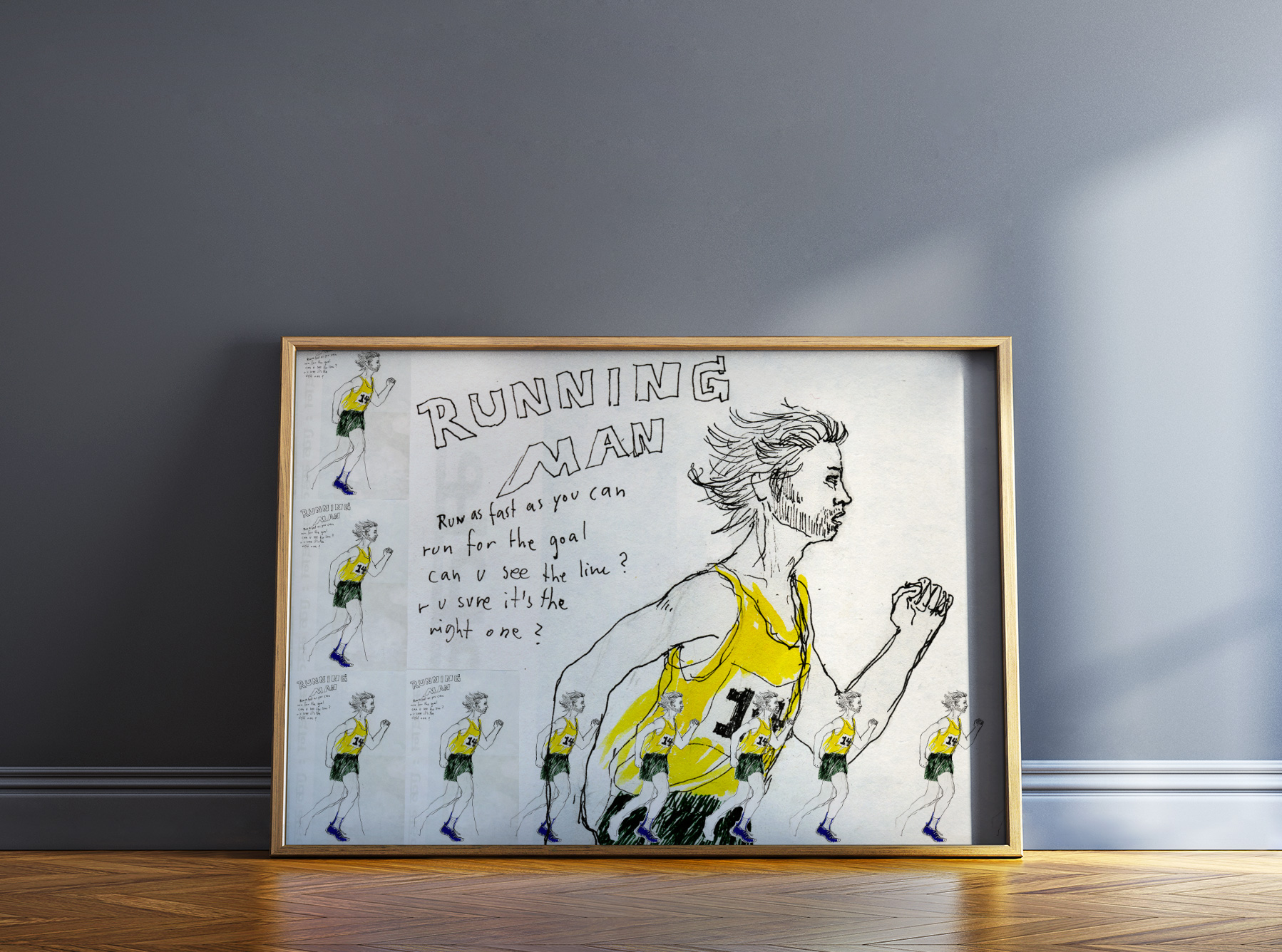 art-prints, gliceé, figurative, illustrative, portraiture, bodies, sport, white, yellow, ink, paper, amusing, men, Buy original high quality art. Paintings, drawings, limited edition prints & posters by talented artists.