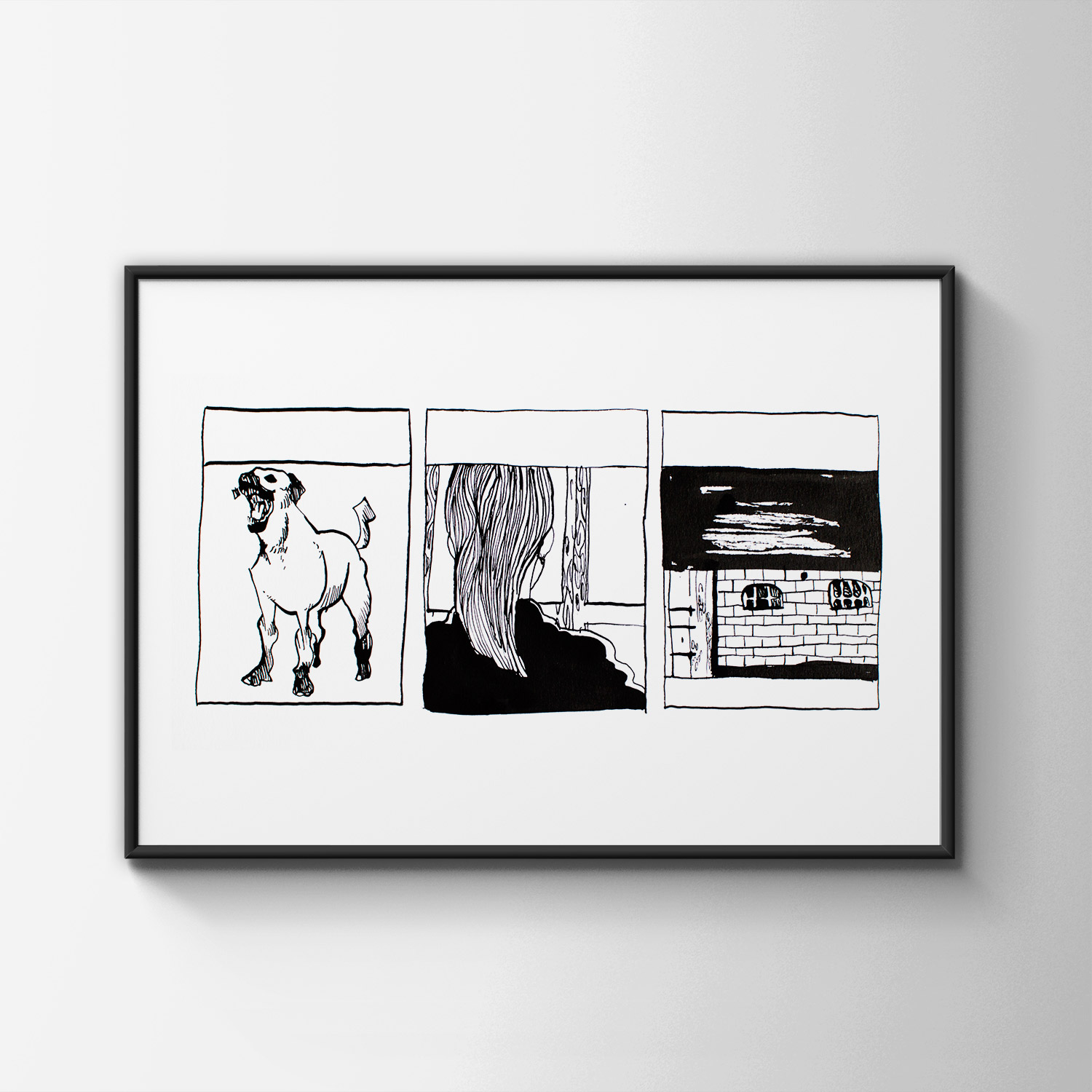 drawings, animal, illustrative, monochrome, portraiture, architecture, cartoons, everyday life, pets, black, white, ink, paper, black-and-white, buildings, dogs, sketch, Buy original high quality art. Paintings, drawings, limited edition prints & posters by talented artists.