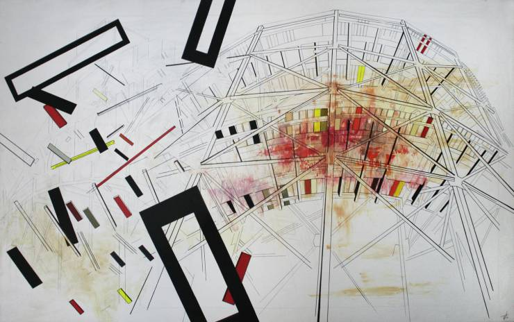 Roller Coaster, deconstruction, red, black, yellow, bauhaus Digital Collage, Photography, digital collage on the wall, digital printing, Framed digital collage Home Nursing photography, art photography, art photography, fragmentation, dynamics, structures and history. facebook, google,